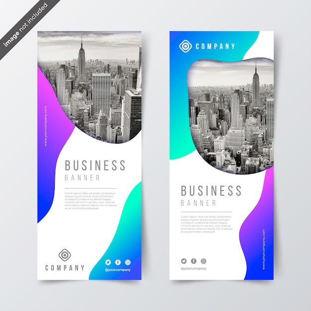 Gradient business banners with photo Free Vector