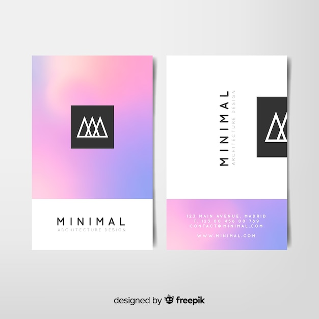 Gradient business card template Free Vector
