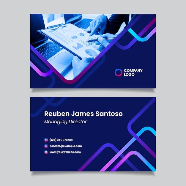 Градиентная визитка с фото Бесплатные векторы