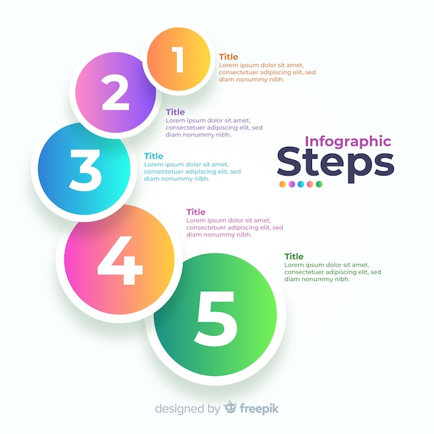 Gradient business infographic steps Free Vector