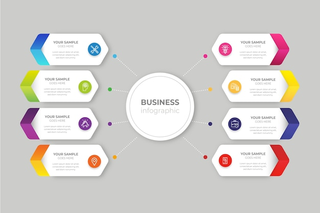 Gradient business infographic Free Vector