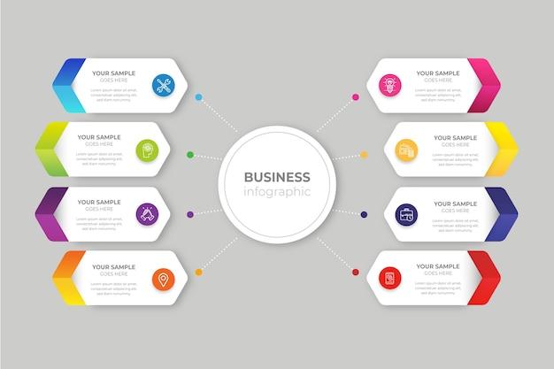 Градиент бизнес инфографики Premium векторы