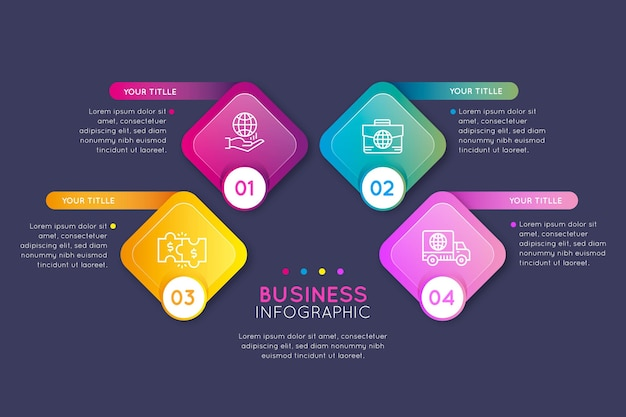 Gradient business infographics concept Free Vector