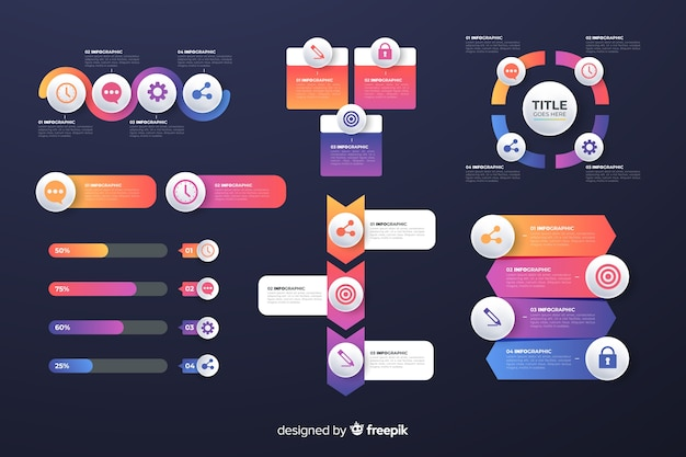 Gradient business infographics elements pack Free Vector