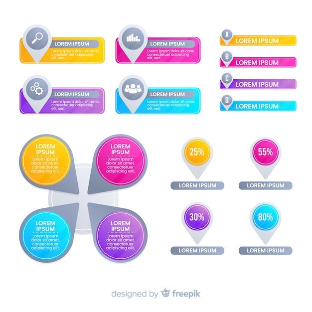 Gradient business infographics elements set Free Vector