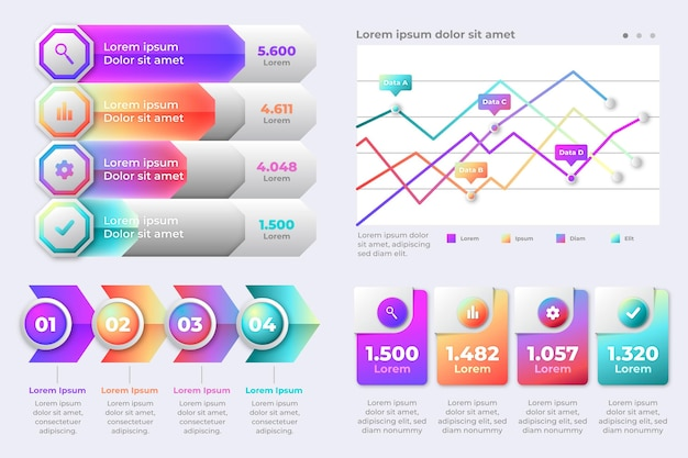 Gradient business infographics template Premium Vector