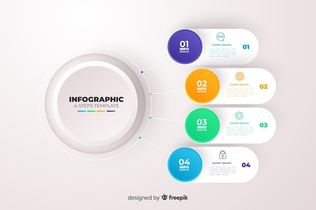 Gradient business infographics template Free Vector
