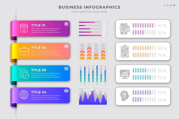 Gradient business infographics Free Vector