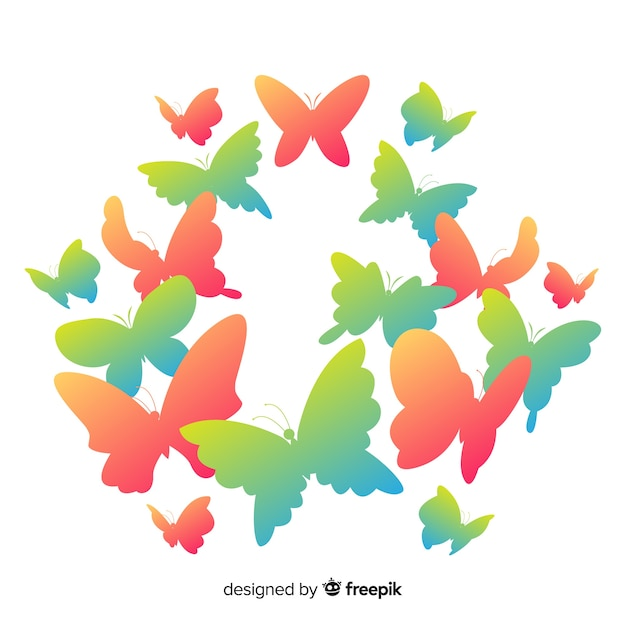 Gradient butterflies background Free Vector