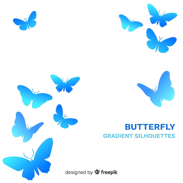 Gradient butterflies flying background Free Vector