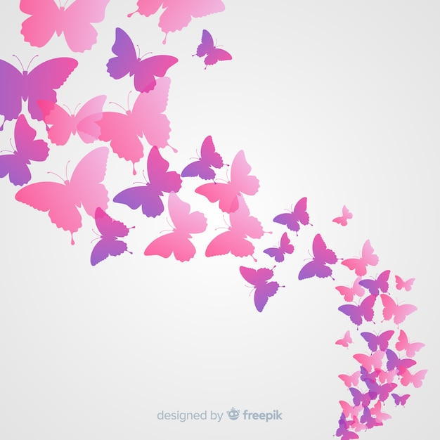Gradient butterfly silhouette swarm background Free Vector
