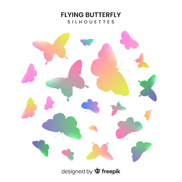 Gradient butterfly silhouettes flying Free Vector