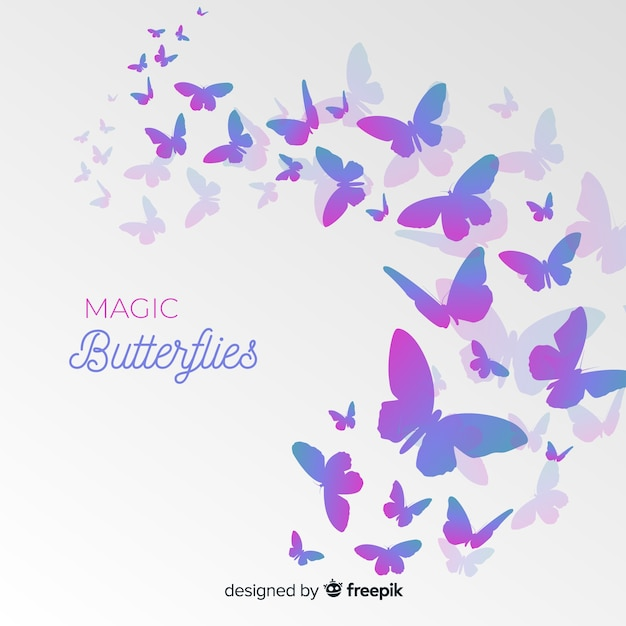 Gradient butterfly swarm silhouette background Free Vector