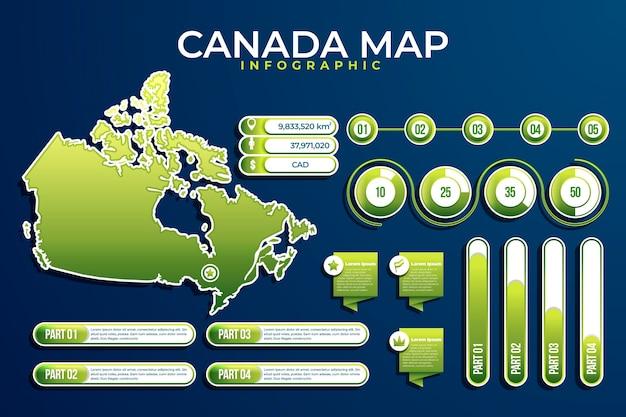 Градиент канады карта инфографики Бесплатные векторы