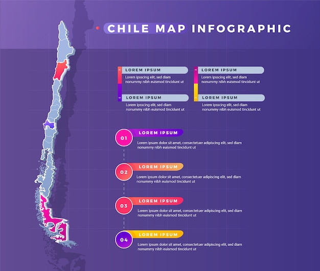 Gradient chile map infographic Premium Vector