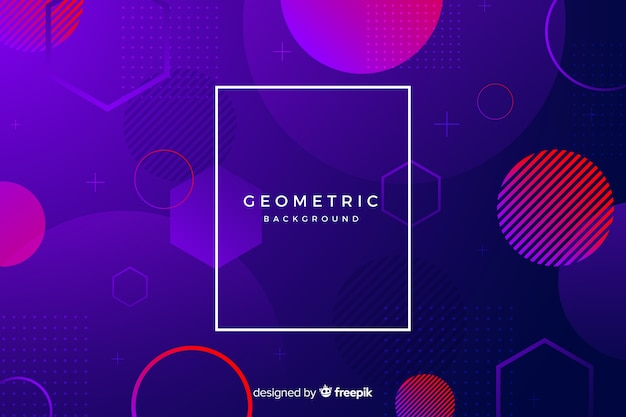 Gradient circles with fading geometric shapes Free Vector