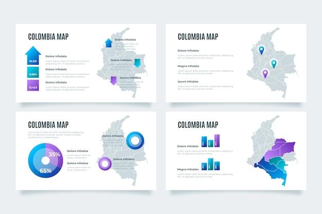 그라데이션 콜롬비아지도 Infographic 프리미엄 벡터