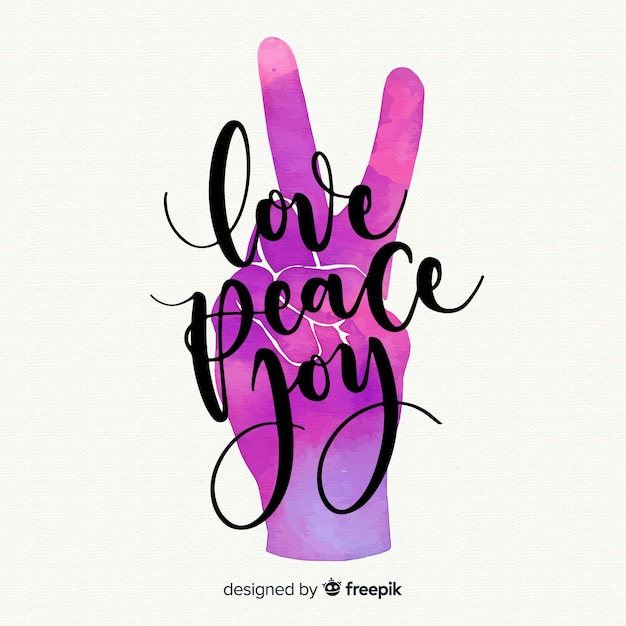 Gradient color hand peace sign background Free Vector