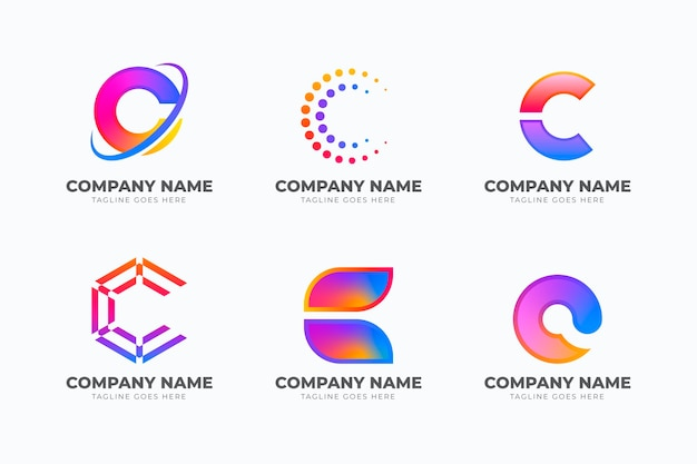 Gradient colored c logo template collection Free Vector