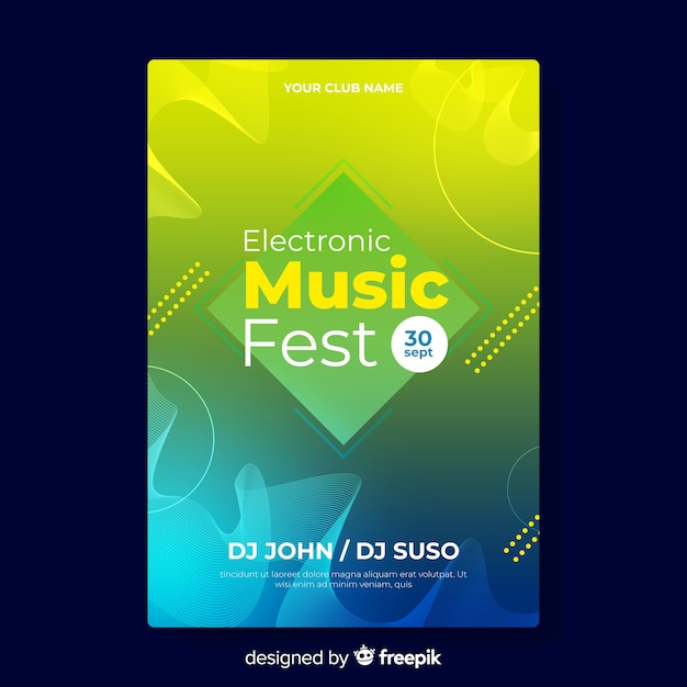 Gradient colored electronic music poster template Free Vector