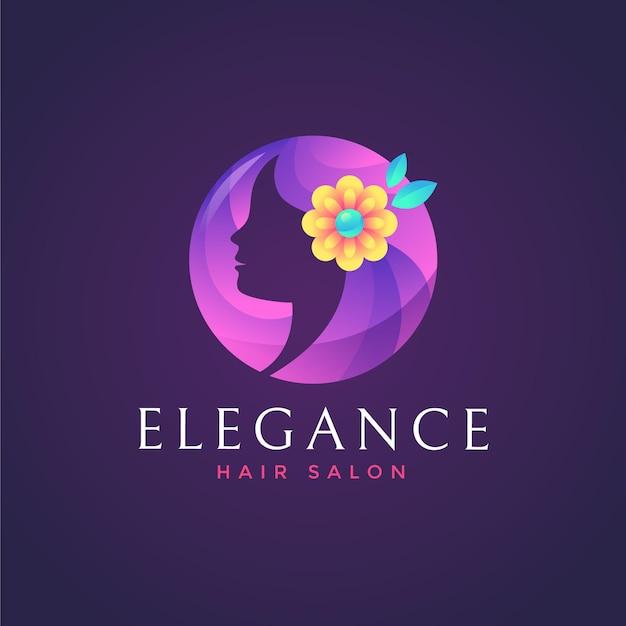 Шаблон логотипа парикмахерской градиентного цвета на темном фоне Premium векторы