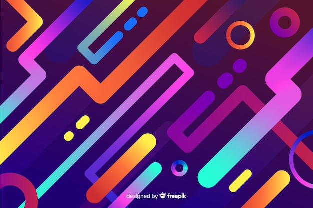 Gradient colorful background with dynamic shapes Free Vector