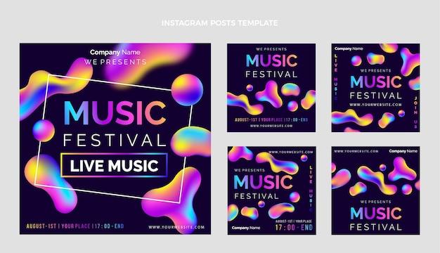 Gradient colorful music festival ig posts Premium Vector