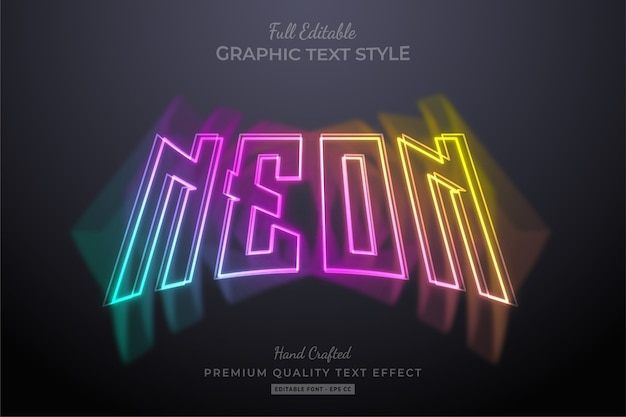 Gradient colorful neon editable text effect Premium Vector