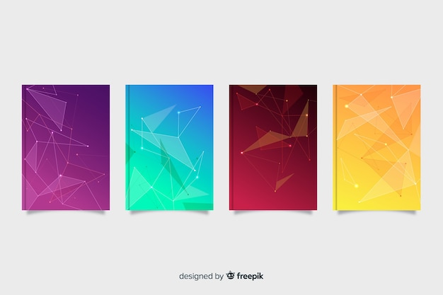 Gradient colorful technology cover collection Free Vector