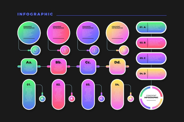 Gradient colourful infographic with organised design Free Vector