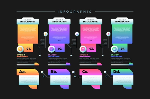 Gradient colourful infographic with various text boxes Free Vector