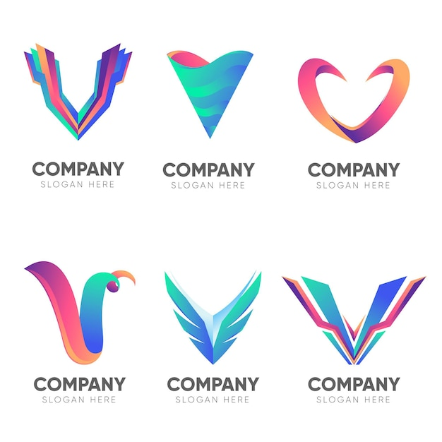 Gradient company capital letter v logos Free Vector