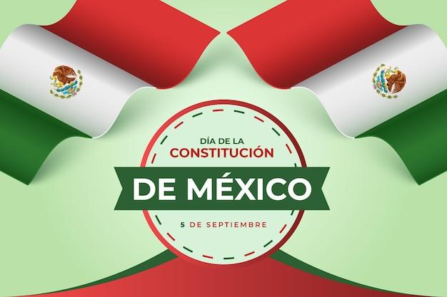 Priorità bassa di giorno di costituzione gradiente con bandiera messicana Vettore gratuito