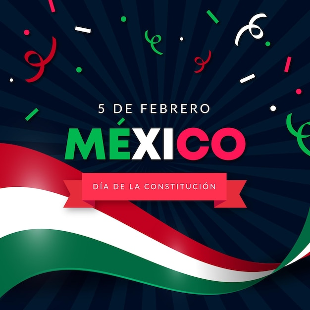 Gradient constitution day wallpaper with mexican flag Free Vector