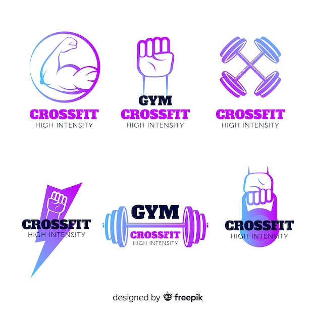 Gradient crossfit logo templates collection Free Vector