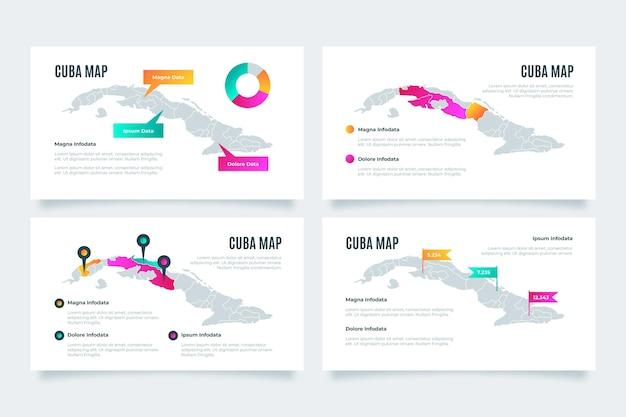 Gradiente cuba mappa infografica Vettore gratuito