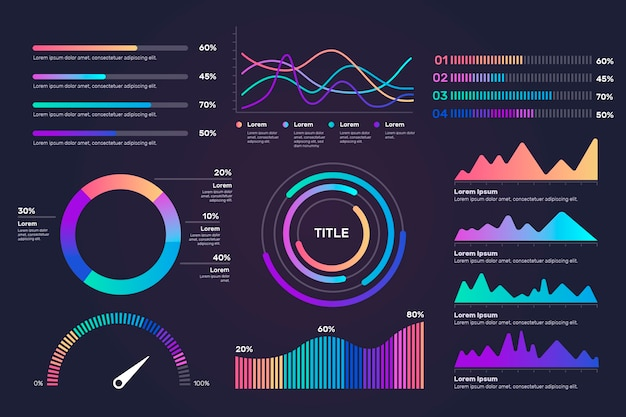 Gradient dashboard element collection template Free Vector