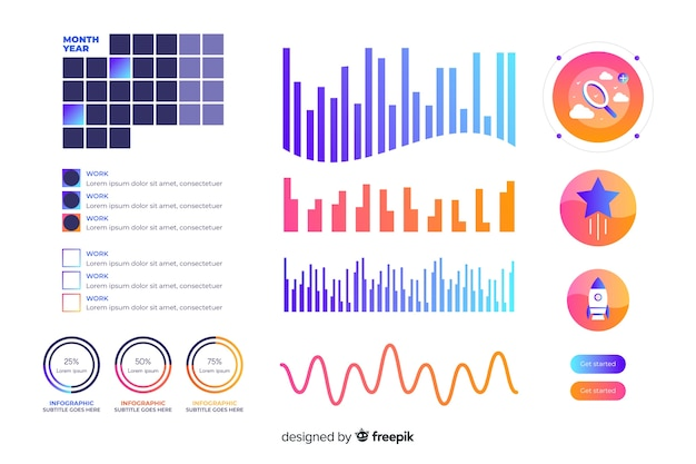 Gradient dashboard element collection Free Vector