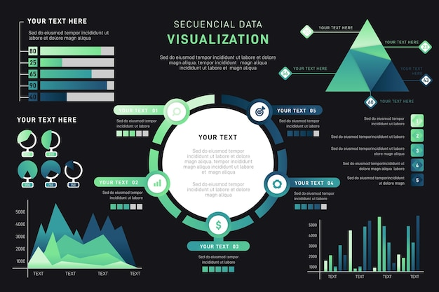 Gradient data visualization infographic Free Vector