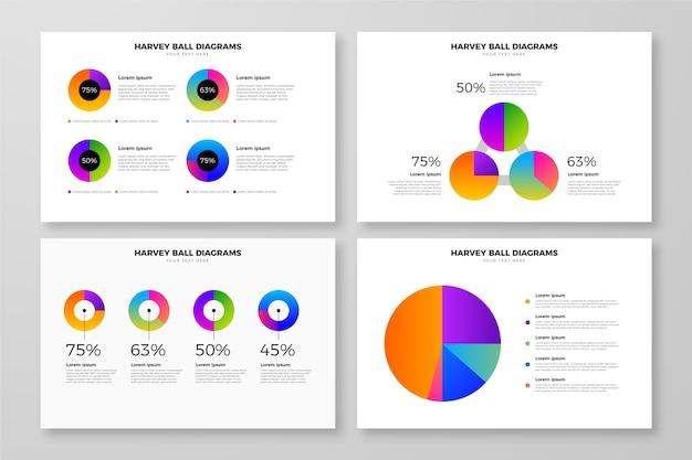Gradient design harvey ball diagrams Free Vector