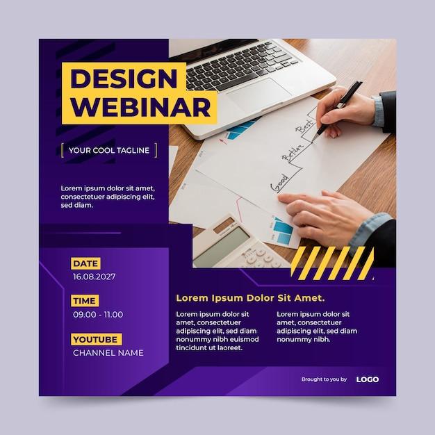 Квадратный флаер веб-семинара по градиентному дизайну Premium векторы