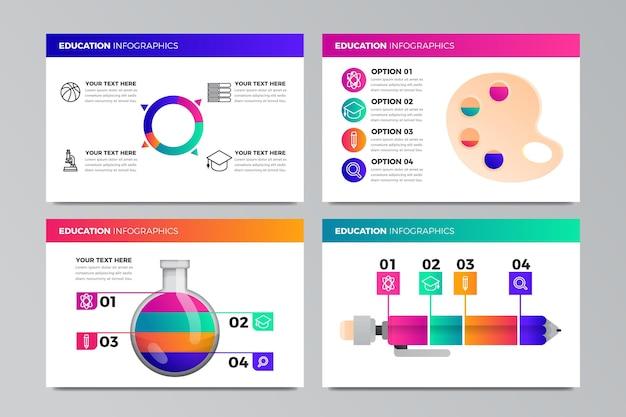 Set di infografica educazione gradiente Vettore gratuito