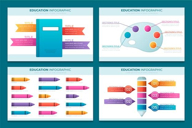 グラデーション教育のインフォグラフィック 無料ベクター