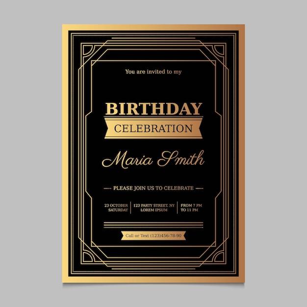 Приглашение на день рождения с градиентом Бесплатные векторы