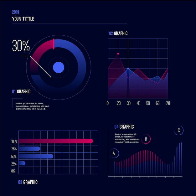 Gradient element collection dashboard template Free Vector
