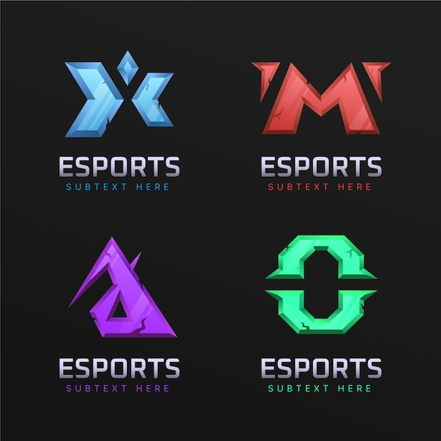 Gradient esports gaming logo collection Free Vector