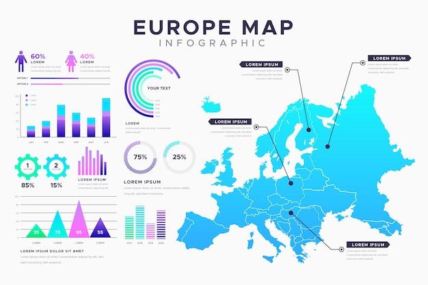 Градиентная карта европы инфографики Бесплатные векторы