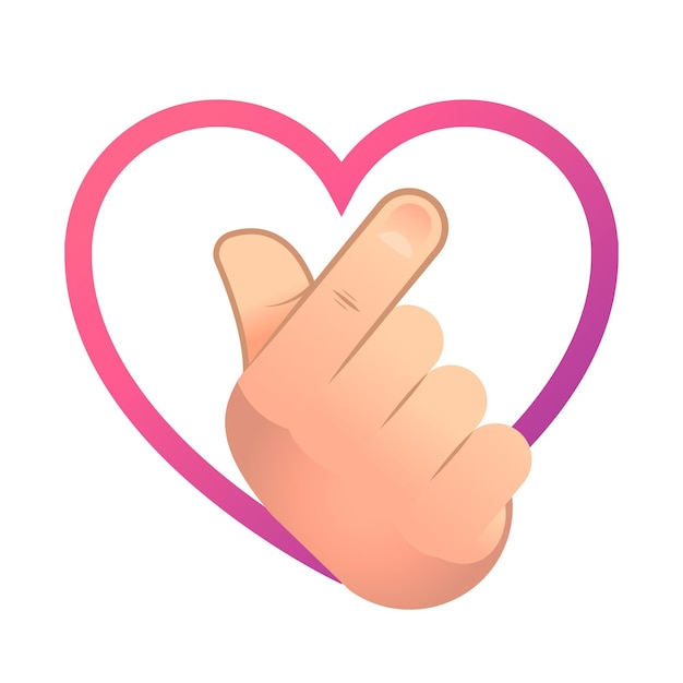 Gradient finger heart illustration Free Vector