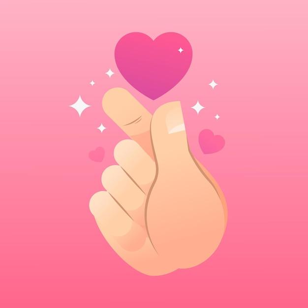 Gradient finger heart illustration Premium Vector