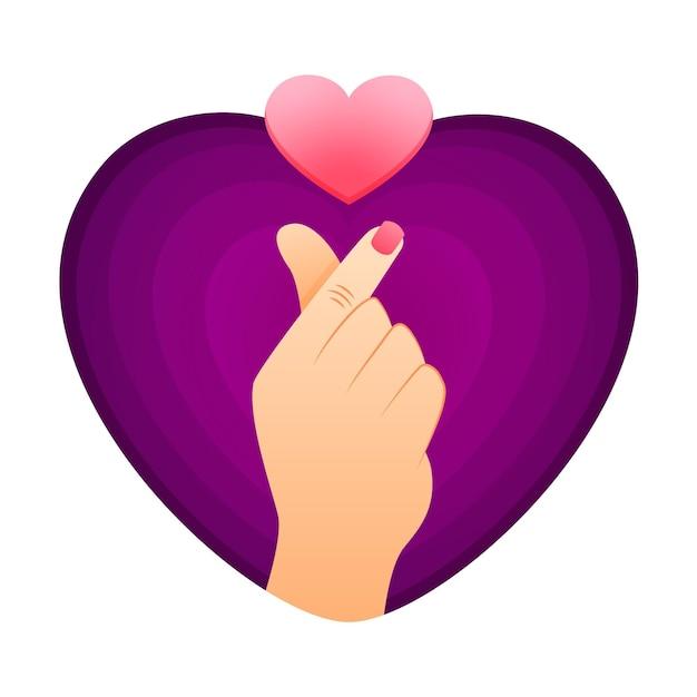 Gradient finger heart Free Vector